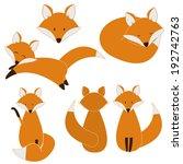 cute fox set | Shutterstock .eps vector #192742763