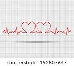 red heart beats cardiogram | Shutterstock .eps vector #192807647