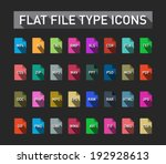 set of flie type flat icons...