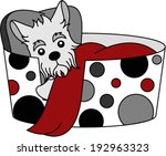 adorable,animal,bed,black,blanket,breed,canine,cartoon,character,cushion,cute,design,dog,dots,drawing