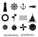 vector of black nautical and... | Shutterstock .eps vector #192990707