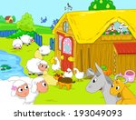 farm and funny animals near... | Shutterstock . vector #193049093