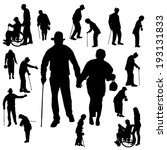 vector silhouette of old people ... | Shutterstock .eps vector #193131833