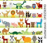 set of funny cartoon animals... | Shutterstock . vector #193156943
