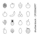 fruit icons set  | Shutterstock .eps vector #193306097