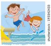 boys jump from the bridge in... | Shutterstock .eps vector #193342433
