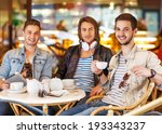 young hipster guys sitting in a ... | Shutterstock . vector #193343237