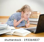 smart little girl writes... | Shutterstock . vector #193364837