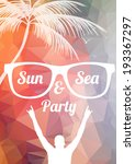 minimal summer beach party... | Shutterstock .eps vector #193367297