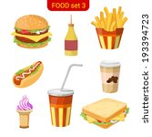 Fast food vector icon set. Burger, fried potato, hot dog, coffee, cola, ice cream, sandwich. Food collection. High detail.