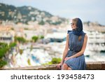 elegant young woman in the old... | Shutterstock . vector #193458473