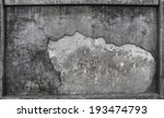 Textured Of Broken Cement Wall...