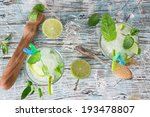 fresh mojito drink on wooden... | Shutterstock . vector #193478807