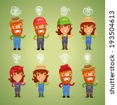 farmers with icons set. in the... | Shutterstock .eps vector #193504613