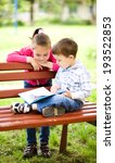 little boy and girl is reading... | Shutterstock . vector #193522853