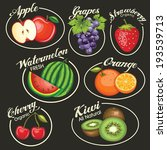 set of fruits vector icons and... | Shutterstock .eps vector #193539713
