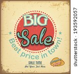 vintage and retro sale label  | Shutterstock .eps vector #193592057