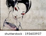 japanese geisha woman with red... | Shutterstock . vector #193603937