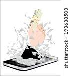 black smartphone broken glass...   Shutterstock .eps vector #193638503