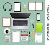 workspace top view | Shutterstock .eps vector #193639517