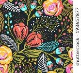 vector floral seamless pattern... | Shutterstock .eps vector #193657877