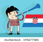 croatian soccer fan blowing a... | Shutterstock .eps vector #193677383