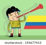 colombian soccer fan blowing a...   Shutterstock .eps vector #193677413
