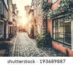 Stock photo old town in europe at sunset with retro vintage instagram style filter effect 193689887