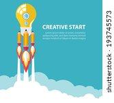 art launch light bulb and... | Shutterstock .eps vector #193745573