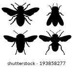 black silhouettes of bees ... | Shutterstock .eps vector #193858277