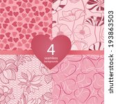 Set Of Four Pink Wedding...