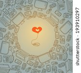 wallpaper with gadgets and heart | Shutterstock .eps vector #193910297