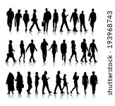 Silhouette Of Business People...