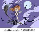 halloween witch flying on a... | Shutterstock .eps vector #193980887