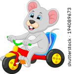 mouse riding bicycle | Shutterstock . vector #194089673