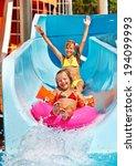 children  on water slide at... | Shutterstock . vector #194099993