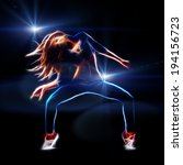 Female Hip Hop Dancer  Neon...