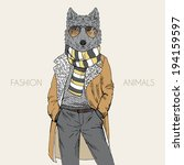 fashion illustration of wolf... | Shutterstock .eps vector #194159597