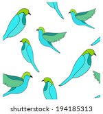 seamless vector print with birds | Shutterstock .eps vector #194185313