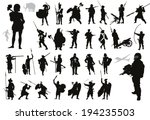 Ancient and modern warriors silhouettes set. High detailed vector. EPS8