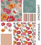 seamless vector floral patterns ... | Shutterstock .eps vector #194250497