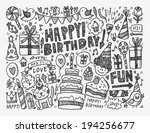 doodle birthday party background | Shutterstock .eps vector #194256677