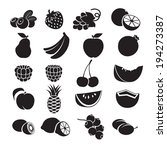 black and white icons   fruits... | Shutterstock .eps vector #194273387