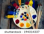 photo of  brush mixed paint on... | Shutterstock . vector #194314337