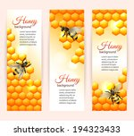 Honey bee on comb background vertical banners set isolated vector illustration