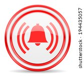 alarm red white glossy web icon | Shutterstock . vector #194435057