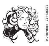 beautiful fashion women with...   Shutterstock .eps vector #194436833