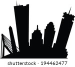 Cartoon skyline silhouette of the city of Boston, Massachusetts, USA. - stock vector