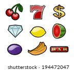 set of slot machine icons | Shutterstock .eps vector #194472047
