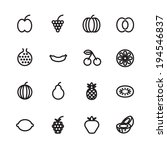 thin line icons for fruits.... | Shutterstock .eps vector #194546837